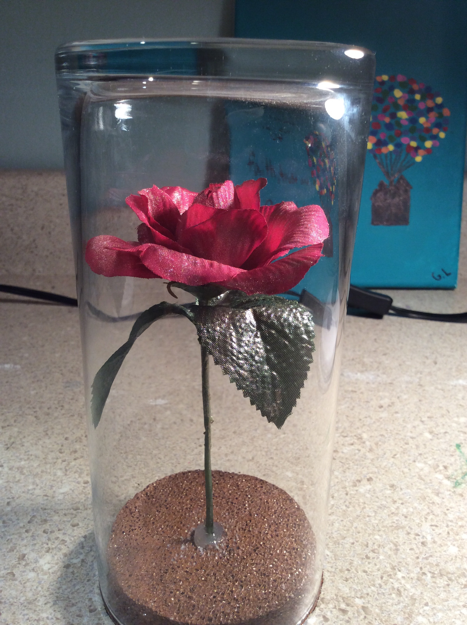Beauty and the beast rose diy art and roses i put some hot glue around the circle just to make sure it stays in place and the boom you have your own beauty and the beast rose izmirmasajfo Choice Image